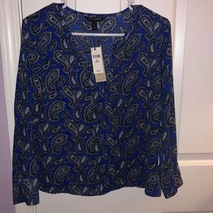 Banana republic blue paisley blouse